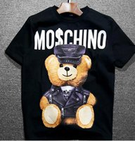 Wholesale Hat Tee - 2017 Harajuku Couples Clothes Print 2017 new fashion Bear tee tops star hat For men women brand tee free shipping famous