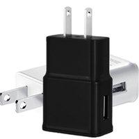 cargador de pared de viaje de pared negro al por mayor-Cargador de pared USB 5V 2A Adaptador de cargador de viaje AC de la casa EE. UU. Enchufe de la UE para teléfono inteligente universal con Android Color blanco negro
