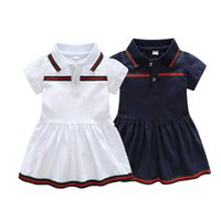 Wholesale baby clothes sizes online - Baby Girls Dress Summer Stripe Dress Baby Dressing for Party Holiday blue and White with Bow Kids Clothes