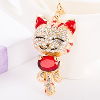 Wholesale Chinese Hanging Ornaments - 2018 The best selling Chinese style the cute cat who can brings luck and wealth Creative key chain bag hanging ornaments fine rose gold gift