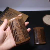 sculpture en bois vert achat en gros de-Peignes vert santal poche barbe peignes à cheveux double face magnifiquement sculpté artisanat mode peigne en bois naturel fait main