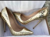 altın ayakkabılar yüksek topuk toptan satış-Yeni Altın Fantezi Llaser Daire Kırmızı Alt Yüksek Topuk Ayakkabı Kadınlar Ince Topuk Sivri Burun Elbise Sığ Ayakkabı Büyük Boy 44