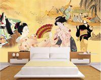 murais de parede japoneses venda por atacado-Cozinha Japonesa Sushi Cozinha Papel De Parede Restaurante Pacote de Tema Do Hotel Mural de Fundo Parede 3d Japonês Senhoras Papel De Parede