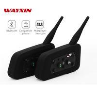 ingrosso bt casco auricolare-2018 Wayxin R6 Moto Bluetooth Cuffie Auricolari citofono per 6 riders BT intercomunicador wireless Interphone MP3 senza caricatore