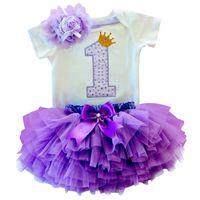 vestidos de tutu para bebés de primer cumpleaños al por mayor-Vestidos de verano para niños para niñas Baby 1st First Birthday Tutu Dress Vestido de fiesta infantil Baby Girl Baptism Clothes Vestido Infantil