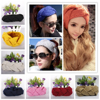 Wholesale hair weave braid accessories online - 11Colors Knitting Twist braid hair band hair earmuffs hand woven headband Europe and America autumn and winter warm hair accessories GGA1247
