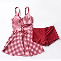 Wholesale plus sized swimwear for women for sale - 2019ss New Plaid One Piece Swimwear Sexy Plus Large Size Woman Skirt Bandage Bathing Suit Swimming Dress Swimsuit for Women