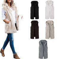 Wholesale hooded sleeveless jacket woman online - 5styles Sherpa vest sleeveless warm cardigan warm Plush lint wool Waistcoat spring winter hooded sports outwear coat jackets FFA1015