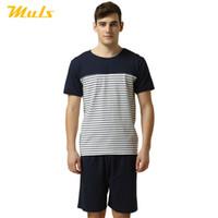 mavi olanlar toptan satış-Yaz tarzı 2 parça set erkekler kısa pijamas masculino inverno MULS uyku yakın çizgili beyaz mavi viskon artı boyutu 1512A