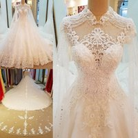 Wholesale empire line lace wedding dresses white for sale - High Neck A Line Wedding Dresses Long Sleeve Lace Crystals Beaded Open Back Bridal Dresses Custom Made Tiered Skirts Wedding Gowns