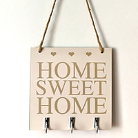 Wholesale wood signs home decor for sale - Group buy Home Sweet Home Wood Sign with Hooks Handmade Shabby Chic Wooden Signs Hanging Plaque Novelty Home Decor Warm Gifts