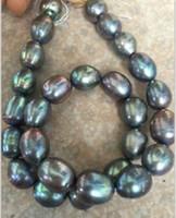 tahitianische barockperlen großhandel-Schnelles freies Verschiffen stnning 10-12mm tahitian barocke schwarze grüne graue Perle Lose Perlen 18inches