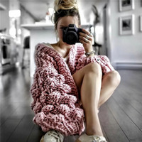 Wholesale Ladies Long Red Cardigan Sweater - 2018 Hot Design Manual Knitting Sweaters Smart Women Shag Line Long Sleeves Casual Lady Cardigan Sweater Short Coat Warm Fashion