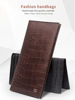Wholesale Handmade Leather Wallets - Factory promotion L ! universal fashion crocodile pattern and bamboo pattern handmade leather case flip cover for mobile phone up to 6inch