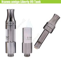 Wholesale thick tube top - Amigo Liberty V9 Tank Ceramic Coils Itsuwa Cartridges No Leak Top Atomizer 510 Thick Oil Bud Touch CE3 O Pen Vape PP Tube A3 G10 Vaporizers
