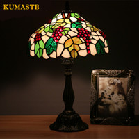 Wholesale vintage stained glass table lamp - Stained Glass Table Lamp Vintage European Style Garden Grape Bedside Light Glass Art Lamp Living Room Hotel Light Fixtures