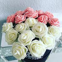 ingrosso pezzi decorativi casa-10 pezzi / pacchetto 8cm fiori decorativi domestici 10 colori pe schiuma fiori artificiali di rosa per la decorazione di giorno di San Valentino di nozze