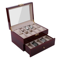 cajas de madera para el envío al por mayor-Lujo 20 Rejillas Rojo Negro Relojes de madera Caja de caja Reloj Titular Colección Almacenamiento Organizador Rápido y seguro Enviar desde los Estados Unidos