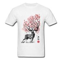 geistbilder großhandel-Luxus Basic T-Shirt Rundhalsausschnitt Sakura Deer Spirit Bild Bild 100% Baumwolle Männer T-shirt Kurzarm Männlich T-shirts Top-qualität
