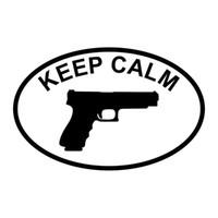 pistolet autocollant achat en gros de-Gardez le calme pistolet camion moto autocollant de voiture autocollant de réfrigérateur autocollant noir / argent CA0064