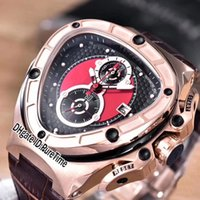 ingrosso cronografo sportivo migliore-Best Version Lamborghini 66th Anniversary in oro rosa Miyota al quarzo Cronografo Mens Watch Cronometro in pelle marrone Sport Racing Car 14a1