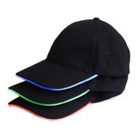 Unisex Caps Fashion LED Lighted Glow Club Party Black Fabric Travel Hat  Baseball CapLuminous Cap Tourism Topi Cap d058e0b174