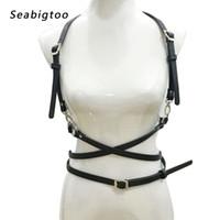 sculpture du corps féminin achat en gros de-Punk rock ceintures noires femmes métal boucle ardillon Ceintures en cuir PU Cage de Bondage Cage Sculptant Harnais Taille Bretelles Bretelles