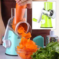 Wholesale salads machine - Round Manual Mandoline Slicer Vegetable Cutter Kitchen Machine Salad Potato Slicer Grater Kitchen Fruit Tool KKA2636