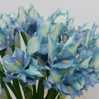 Wholesale iris flowers resale online - New Design Artificial Irish Iris flower fleurs artificielles for autumn wedding table accessory home decoration fake Irish flowers