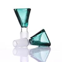 18mm jade großhandel-Dreieck Glasschüssel grün blau Ente grün jade 14mm / 18mm für Glas Wasserpfeife oder Bong Bubbler
