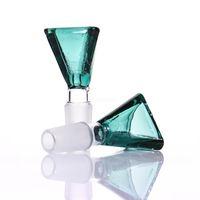 18 mm yeşim toptan satış-Üçgen cam kase yeşil mavi ördek yeşil yeşim 14mm / 18mm cam su borusu veya bong bubbler için