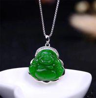 ingrosso collana di pendenti del buddha di giada verde-Classic New S925 con certificato Sterling Silver Natural cinese Hetian Green Jade donne Jasper pendente collana Buddha
