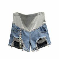 vestidos cortos para embarazadas al por mayor-Pantalones cortos de red de pesca de la manera pantalones embarazadas mujeres pantalones cortos de vaquero embarazadas de gran tamaño ropa de mujer vestido de maternidad de verano