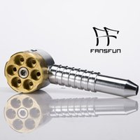Wholesale six shooter pipe for sale - Group buy Six Shooter Brass Smoking Pipe Inch Aluminum Brass Pipes Heavy Metal Pipe in Golden Sliver Color DHL