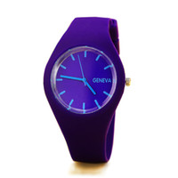 Wholesale silicone jelly belts resale online - Thin jelly watch sports watch candy colored silicone rubber belt Wristwatches
