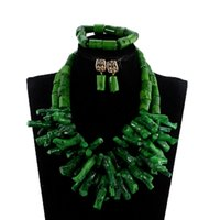 ingrosso collane corallo africane-African Nigerian Wedding Coral Beads Jewelry Set verde Chunky Beads Collana Statement Set stile barocco CNR035