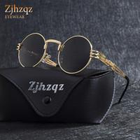 abrigo gótico de moda al por mayor-ZJHZQZ Retro vintage gótico Steampunk Espejo Gafas de sol Revestimiento Negro Lente Plata Azul Espejo Redondo Moda Escudo Gafas