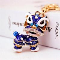 tiere chinesischen ring großhandel-Neue Chinesische tanz löwe keychain party geschenk tasche auto Charme Schlüsselanhänger Ring Mode-accessoires tier keychain