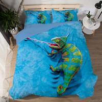 hayvanlar yorgan örtüleri toptan satış-3D Yatak Seti Kertenkele Tik Tok Kedi Köpek Yunus Hayvan Desen Baskılı Nevresim Yastık Kılıfı Ikiz Tam Kraliçe Kral 3 adet Çarşaflar