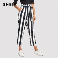 bd0886f3ac018 20187 SHEIN Navy Elegant Workwear Office Lady Frill Trim High Waist Striped  Tapered Self Belted Pants Autumn Women Casual Trousers