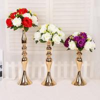 vasos para decorações de mesa venda por atacado-Suporte de Vela de casamento 32/38/50 cm de prata / ouro castiçal enfeites de decoração para casa estrada principal mesa de chumbo vaso arranjo de flores casamento