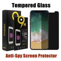 iphone cam ekran koruyucusu perakende toptan satış-Anti-Casus Temperli Cam iPhone X Için XS MAX XR 8 7 6 Artı Perakende Ekran Ile Samsung S7 S6 Için Gizlilik Ekran Koruyucu