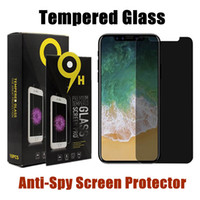 Wholesale huawei s7 screen - Anti-Spy Tempered Glass For iPhone X 8 7 6 6s Plus Privacy Screen Protector For Samsung S7 S6 Huawei P10 With Retail Package