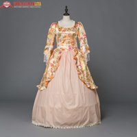trajes victorianos al por mayor-Victorian Gothic Victorian Civil War Dress Floral Ball Reconstrucción traje de Halloween Adulto