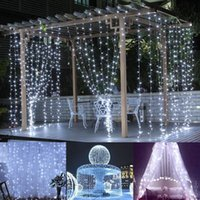 Wholesale holiday window lights - 3*3M LED Window Curtain Icicle Lights 306 LED 9.8ft 8 Modes String Fairy Light String Light for Christmas Halloween Wedding