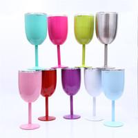 platz biergläser großhandel-10oz Kelchvakuum-Edelstahl-Becher-Wein-Cocktail-Schalen-Glaskreativer Winecup-dauerhafter Glasbecher mit Deckel-trinkender Waren-Glas 9color