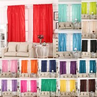 Wholesale living room curtains wholesale - Solid Color Curtain Living Room Decorate Silk Cloth Shading Window Curtains Wedding Ornament For Multicolor Optional BBA15