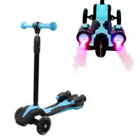 elektrikli su oyuncakları toptan satış-Çocuk Scooter 3 Tekerlekler Yeni Patinete infantil Su Somking Elektrikli Pil Roket Ses Işık kauçuk hava tekerlekleri gençler oyuncak