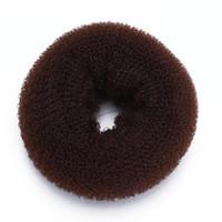 стили булочных колец оптовых-Sponge Magic Donut Bun Former Ring Hair Styling Tool Brown Chic