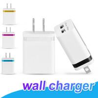 taşınabilir şarj cihazı paketleme toptan satış-NOKOKO Duvar Şarj Evrensel Çift USB Portları Güç Taşınabilir Seyahat Adaptörü 2.1A Samsung S8 Not 8 iPhone 7 8 ABD AB Versiyonu Hiçbir paket
